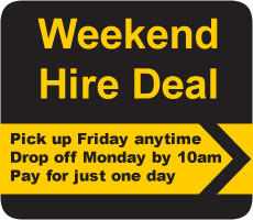 eekend Hire Deal - pick up Friday, drop off Monday, pay for just 1 day